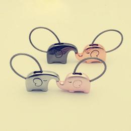 Wholesale Wedding Ring Souvenirs - Elephant Keychain Cute Animal Metal Key Ring Holder Keyring Car Handbag Bag Party Souvenir Wedding Favors And Gifts ZA2953