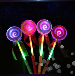 Wholesale Glow Lollipop - 34CM Cute Lollipop Ribbons LED Glowing Stick Flashing Light Kids Concert Wedding Birthday Party Decoration ZA3718
