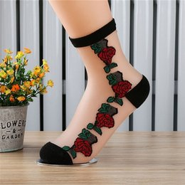 Wholesale transparent ankle socks - Wholesale- 1Pair Rose Flower Pattern Women Lace Ankle Sock Soft Sheer Silk Cotton Elastic Mesh Knit Transparent Ankle Socks