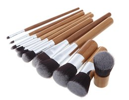 Wholesale Cheap Professional Make Up Brushes - Professional 11 Pcs Colorful Make Up Brushes Set Kit Wood High Quality Cheap Cosmetic Foundation Makeup Tools