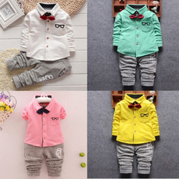 Wholesale Kids Shirt Tie - Baby Toddler Boys clothing Set Gentleman Clothes Suit Fall Kids Chlidren Costume Bow Tie Cartoon Sleeve Shirt Tops harm Pants Cotton Outfit