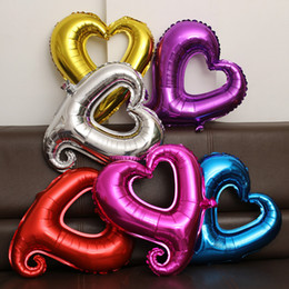 Wholesale Heart Shaped Hook - 18 Inches Large Hook Heart Shape Foil Balloons Wholesale Helium Balloon Wedding Party Decoration Marriage Balloons