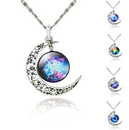 Wholesale Around Circle - Universe Galaxy Necklace Vintage Hallow Moon around Circle Pendants Unisex Adjust Chains Circle Pendant Silver Chains Collection