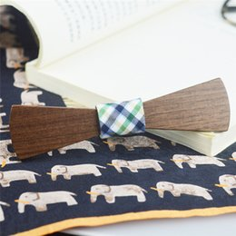Wholesale Tie Knots Bow Men Black - Original Ecology Wooden Bowtie Long Arc Skateboard shaped necktie with Black Walnut Wood knot for male and female