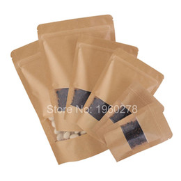 Wholesale Gift Paper Storage - Thickness 16 wire Brown Stand Up Kraft Paper Gift Bag For Tea Candy Nut Food Packaging Zip Lock Bags Gift Storage Bags