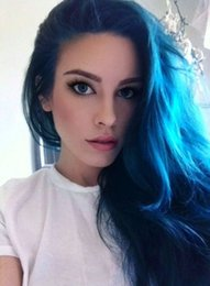 Wholesale Blue Hair Extensions Weft - 2017 Ombre Color 1B Blue Brazilian Straight Colorful Hair Bundles,Human Hair Extension 3pcs lot Hot Beauty Ombre Hair