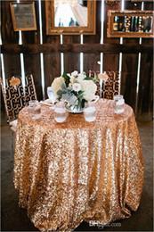 2019 vente de mariage en nappe 2017 Bling Rose Or Paillettes Table ronde Tissu De Mariage De Mariage De Mariage Décorations Argent Rose Champagne Glitter Tissu Paillettes Tissu