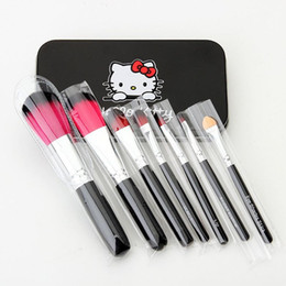 Wholesale Top Quality Makeup Brand Cosmetics - Brand HelloKitty top quality 7 pcs Makeup Brushes Professional Cosmetic Brush Sets kit Makeup Tools free epacket