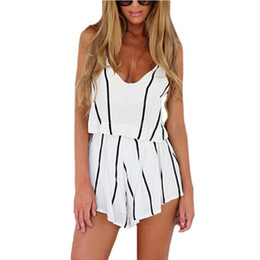 Wholesale striped tank top dress - 2017 Summer Hot 2 Piece Set Women Tops V Neck Strap Striped Chiffon Tee Shirt Boho Beachwear Sexy Tank Top Women Shorts