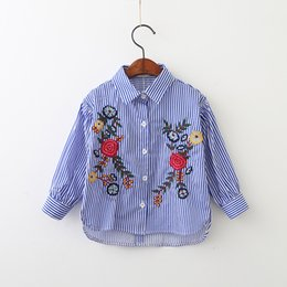 Wholesale Children Blouses - Baby Girls Striped Shirts Kids Girls Embroidery Floral Blouse Babies Autumn Clothing 2017 children Clothing