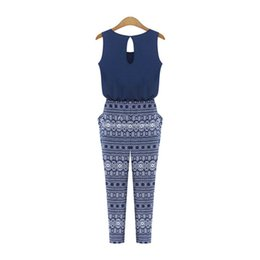 Wholesale Women S Fashion Bodysuits Wholesale - Wholesale- Summer Women Fitness Print Sleeveless Jumpsuits Overalls Fashion Loose Slim Rompers Sexy Bodysuits Playsuits
