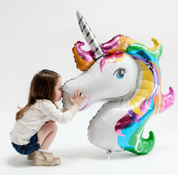 Wholesale Giant Baby - Giant Rainbow Unicorn Head Foil Balloon Childens Party Baby Shower Kids Birthday Decor Cartoon Amnimal Helium Blloons 42.5'' bag filler