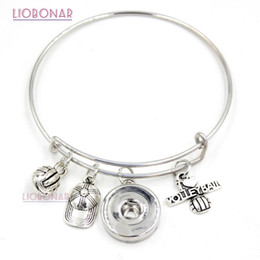 Wholesale Volleyball Charms - Wholesale Adjustable Bangle Interchangeable Snap Jewelry Sport I love Volleyball Snap button Bracelet for Sport Volleyball Fans gift