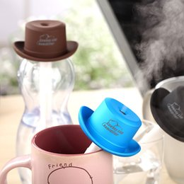 Wholesale Cartoon Cowboy Hats - Free shipping Mini Cowboy Hat Humidifier Water Bottle Cap Air Diffuser Mist Maker Factory Wholesale Directly
