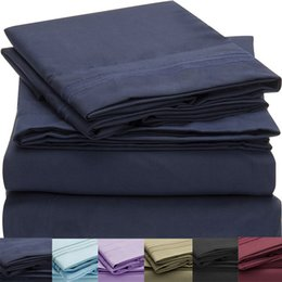 Wholesale Microfiber Sheet Set Full - Wholesale-bedding set Bed Sheet Set fitted sheet QUALITY Brushed Microfiber Wrinkle Fade Stain Resistant Hypoallergenic Twin Cal King