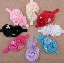 elastisches spitzenband für stirnbänder Rabatt Stirnband-Haar-Zusätze 8 Farben-Art und Weiseblitz-Hand genähte Blumen-Spitze-Band-Baby-elastisches Stirnband-Kopfschmuck YH399
