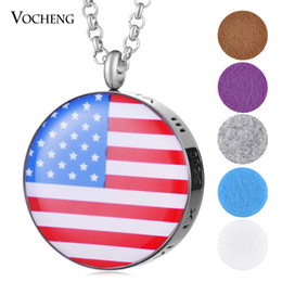 Wholesale Flag Necklaces - 30mm American Flag Aroma Diffuser Jewelry Pendant 316L Stainless Steel Perfume locket without Felt Pads VA-424