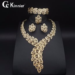 Wholesale Dubai Jewelry Necklace - Fashion jewelry set African Nigeria Dubai gold-color African bead jewelry wedding jewelry set african beads women Necklace Earring set