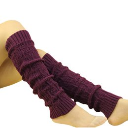 Wholesale Crocheted Boots For Girl - Wholesale- Winter Knitted Leg Warmers for Boots Girls Womens Thigh High Leg Warmers Fashion Knit Boot Cuffs Leg Gaiter Crochet Boot Socks