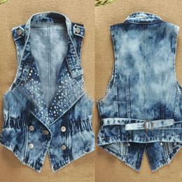 Wholesale Sequins Jean Vest - Vintage Denim Vest Women's Sleeveless Cardigan Washed Sequin Rivet Studs Jean Waist Coat Jacket Outerwear Plus Size 5XL Q154