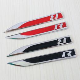 Wholesale R Stickers - 1Set Car Side Wing Fender Badge Emblem Metal R Logo Sticker for VW Golf 6 7 MK7 MK6 GTI Tiguan Polo CC Jetta R32 R36 R50