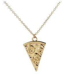 Wholesale Pizza Plates - 2017 KC gold plated Creative pizza pendant necklace novelty long clavicle chain Necklace for Women Statement Jewelry wholesale Free shipping