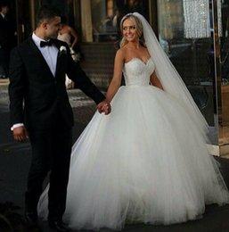 Wholesale Sweetheart Bodice Princess Skirt Dress - Custom Made 2015 Ball Gown Wedding Dresses Sweetheart Corset Bridal Princess Gowns Beaded Bodice Fluffy Garden Cheap Wedding Dresses