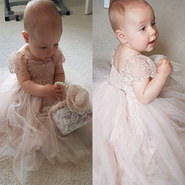 Wholesale Toddler Flower Girl Satin Dresses - Dusty Pink Lovely Flower Girls Dresses Children Cap Sleeves Lace And Tulle Beads First Communion Dress A Line Kids toddler pageant dresses