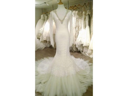 Wholesale Top Quality Satin Mermaid - Amazing Real Photos Mermaid V Neck Long Sleeve Backless Top Quality Lace Crystals Beads Beadwork Tulle Vestido COR-553 Wedding Dress Bridal