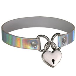 Wholesale Locking Choker Necklaces - Fashion Heart Shape Lock Charms holographic choker Necklace PU Leather Chocker Collar Punk Gothic Necklace for Women Maxi jewelry Bijoux
