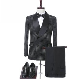 Wholesale Mens Checked Suits - Custom Made Black Wedding Tuxedos for Groom Wear 2017 Two Piece Double Breasted Shawl Lapel Mens Suits New (Jacket + Pants + Tie)