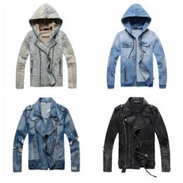Wholesale Yellow Denim Jacket Men - Luxury Designer Jacket Men Slim Warm Mens Washed Denim Motorcycle Biker Jackets Standing Collar Coat Jaqueta Masculina Plus Size M-XXXL