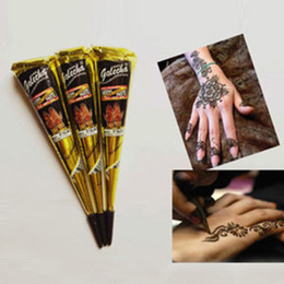 Wholesale Temporary Tattoo Ink Wholesale - Wholesale-Henna Pen Paste permanent makeup Pigment Black color Heidi Flowers Body Paint Temporary Tattoo Cones Pigment Tattoo Ink #86237