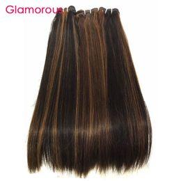 Wholesale Human Hair 33 - Glamorous Piano Style #1b 30 #4 30 #1b 33 Straight Human Hair Extensions Brazilian Malaysian Peruvian Indian Human Hair Weaves 4 Bundles
