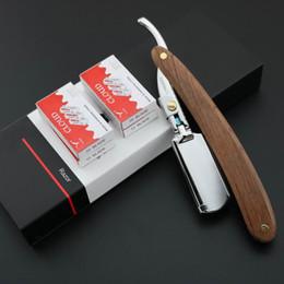 Wholesale Razors Blade - Lyrebird Straight Razor bright silver Replaceable blade shaving razor wood handle Simple packing NEW
