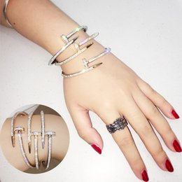 Wholesale Korea Nail - Korea Style Nail Bangles Fashion K Gold Rose Gold Plated Bracelets Nail Crystal Bangles for Women 3 Colors Optional Free Shipping