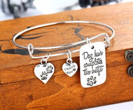 """Wholesale Dog Christmas Outfits - """"Dog hair completes the outfit"""" Paw Prints Dog Tag Heart Shape Charm Bangle Bracelet Paw Lover Jewlry"""