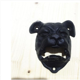 Wholesale Wall Mounted Bottle Openers Wholesale - Iron Dog Head Opener Wall Mounted Bottle Beer Coke Cap with Screws Wall Hanging Fixed Vintage Beer Opener Tools for Bar 10*9cm