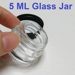 Wholesale Small Box Transparent - Transparent 5ml glass wax container tempered pyrex 1oz dab jar glass storage box custom vaporizer small glass jar with lid