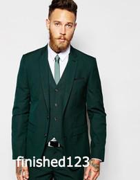 Wholesale Green Vest Tie - Latest Design Two Buttons Dark Green Groom Tuxedos Groomsmen Best Man Suits Mens Wedding Blazer Suits (Jacket+Pants+Vest+Tie) NO:459