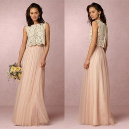 Wholesale Dresses Skirts Tops - 2017 New Arrival Two Piece Bridesmaid Dresses Jewel Neck A Line Full Length Ivory Lace Top and Blush Tulle Skirt Beach Wedding Dresses