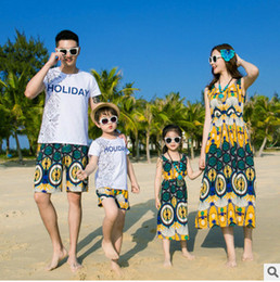 Wholesale Long Style Bohemia Dress - Family clothes father son letter printed T-shirt+flowers shorts 2pc clothing sets bohemia style mother and dauther beach long dresses T3281