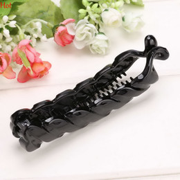 Wholesale banana fish - Special Design Black Beautiful Twisted Hairpins Hair Jewelry Fish Clip Grips Banana Hair Clips Accessories for Women Barrettes LPQ001299