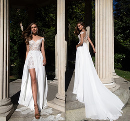 Wholesale Sequin High Slit Dress - 2017 Summer Beach Lace Chiffon Wedding Dresses With Detachable Train White Sheath Off Shoulders Covered Buttons Bohemian Bridal Gowns Cheap