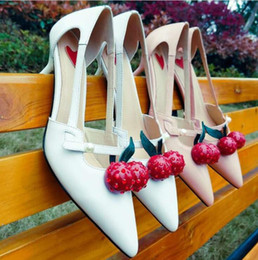 Wholesale Puppy Latex - women high heel sandals 2017 New genuine leather summer womens shoes bamboo with cherry jelly sandals blue black red size 34-39
