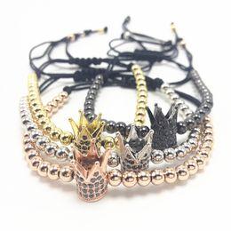 Wholesale Round Copper Braid - Crown Macrame Bracelet Men Bracelets Gold Round Beads 5mm Micro Pave Black CZ Beads Braided Bracelets For Man Mens
