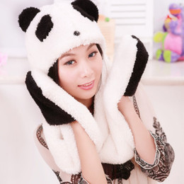 Wholesale Hooded Scarf Cute - Cute cartoon panda wholesale winter lamb Plush hat scarf gloves one warm hooded scarf