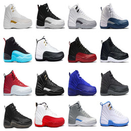 Wholesale Silver Grey Lace Fabric - Air retro 12 men Basketball shoes OVO white the master GS Barons Wolf Grey flu game taxi playoff french blue gym red Sneakers