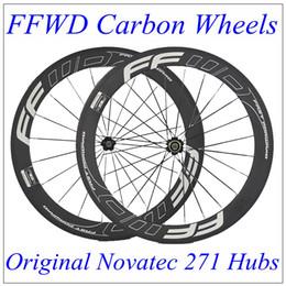 Wholesale Carbon Cycle Race Wheels - 700C FFWD Carbon Road Wheelset 60mm Carbon Rims Bicycle Wheels Clincher Tubular Racing Cycling Kits Novatec 271 Hubs 20 24 Spokes