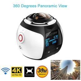 Wholesale Waterproof Wireless Mini Camcorder - V1 4K WiFi Sport Camera Wireless 360 Degree Panoramic Camera 3D VR Action Sports Camera Wifi 16MP HD 30fps Waterproof Mini DV Camcorder